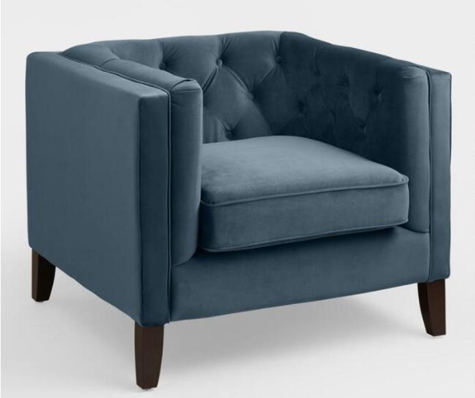 midnight blue velvet kendall chair