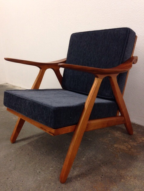danish mid century modern style teak lounge chair komfort style wood armchair sculpted arms