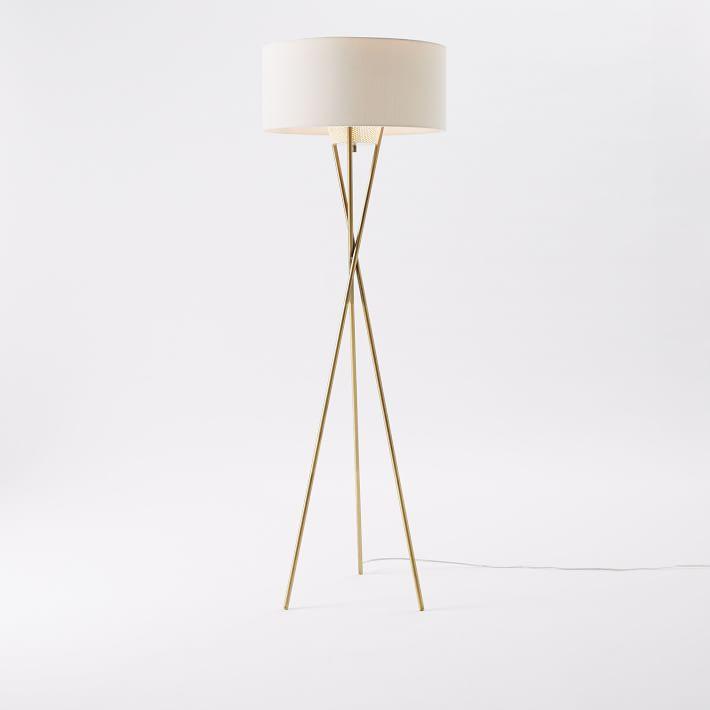 midcentury tripod floor lamp antique brass floorlamp west elm