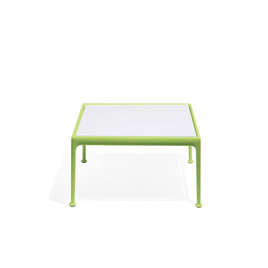 1966 coffee table 28x28 green with porclain white frame