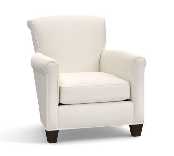 irving upholstered armchair denim warm white