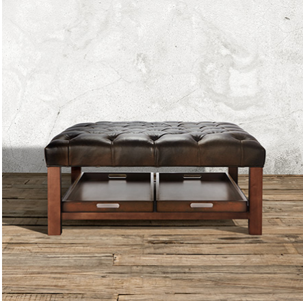 Butler Tufted 39 Leather Ottoman With Trays Libby Espresso Coffee Table