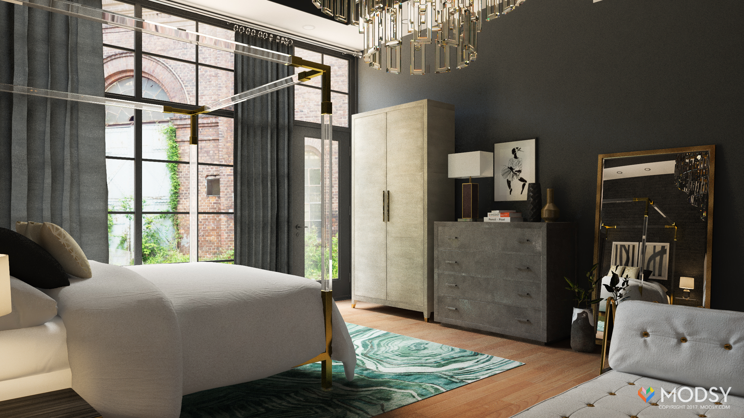 Old Hollywood Glamour With An Industrial Twist , Master Bedroom,  Industrial, Hollywood Glam